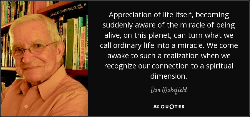 Appreciation of life itself, becoming suddenly aware of the miracle of being alive, on this planet, can turn what we call ordinary life into a miracle. We come awake to such a realization when we recognize our connection to a spiritual dimension. - Dan Wakefield