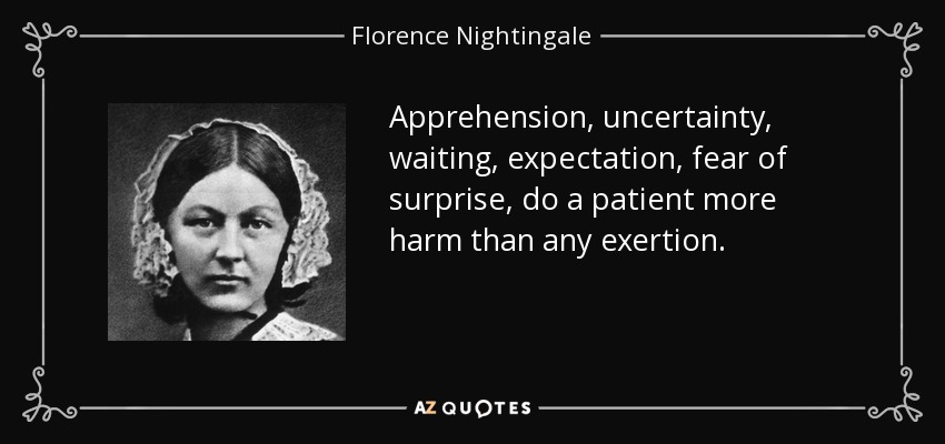 Apprehension, uncertainty, waiting, expectation, fear of surprise, do a patient more harm than any exertion. - Florence Nightingale