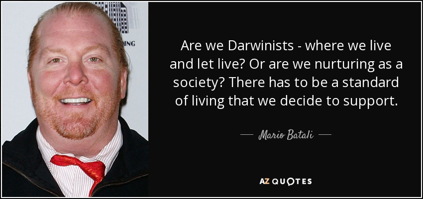 Are we Darwinists - where we live and let live? Or are we nurturing as a society? There has to be a standard of living that we decide to support. - Mario Batali