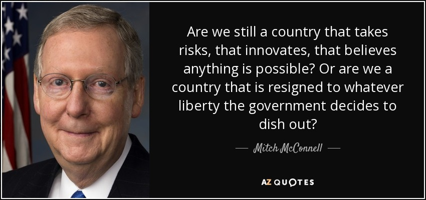 Are we still a country that takes risks, that innovates, that believes anything is possible? Or are we a country that is resigned to whatever liberty the government decides to dish out? - Mitch McConnell