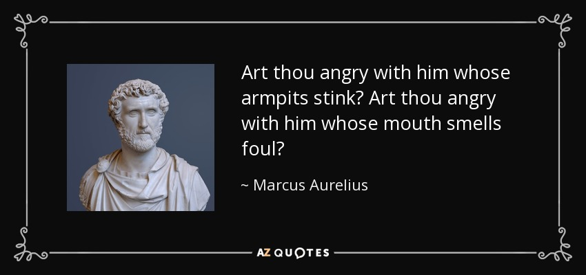 Art thou angry with him whose armpits stink? Art thou angry with him whose mouth smells foul? - Marcus Aurelius