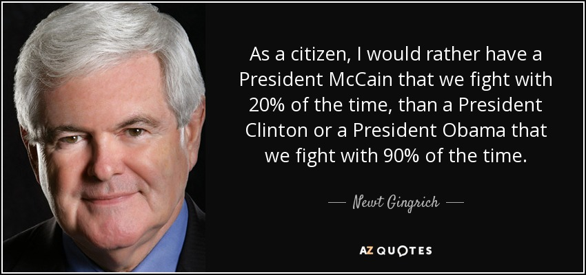 As a citizen, I would rather have a President McCain that we fight with 20% of the time, than a President Clinton or a President Obama that we fight with 90% of the time. - Newt Gingrich