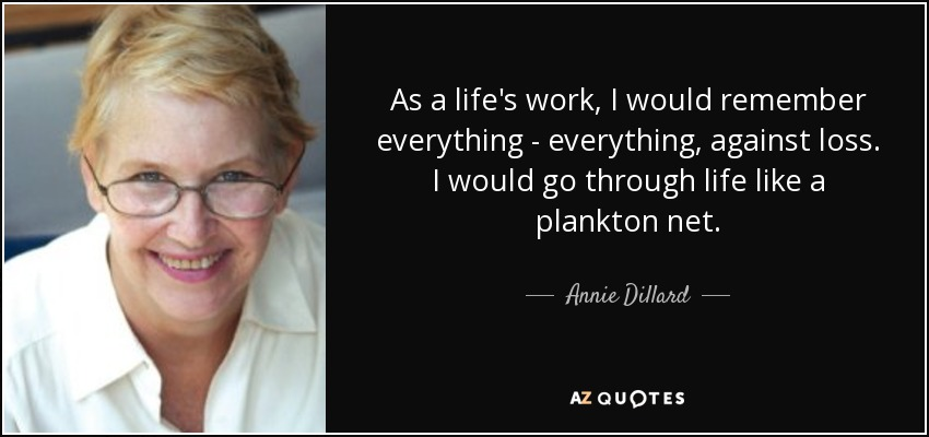 As a life's work, I would remember everything - everything, against loss. I would go through life like a plankton net. - Annie Dillard