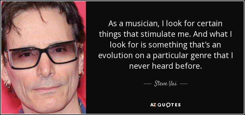 As a musician, I look for certain things that stimulate me. And what I look for is something that's an evolution on a particular genre that I never heard before. - Steve Vai