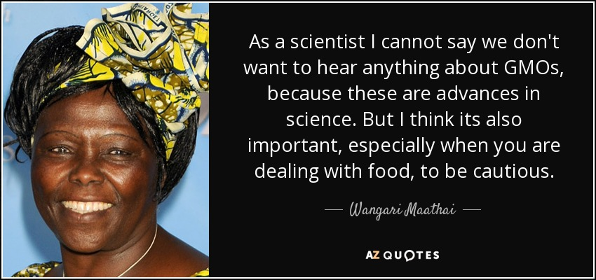 As a scientist I cannot say we don't want to hear anything about GMOs, because these are advances in science. But I think its also important, especially when you are dealing with food, to be cautious. - Wangari Maathai