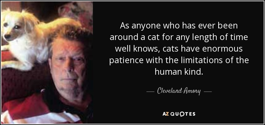 As anyone who has ever been around a cat for any length of time well knows, cats have enormous patience with the limitations of the human kind. - Cleveland Amory