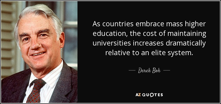 As countries embrace mass higher education, the cost of maintaining universities increases dramatically relative to an elite system. - Derek Bok