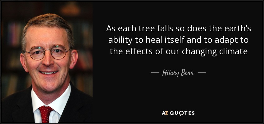 As each tree falls so does the earth's ability to heal itself and to adapt to the effects of our changing climate - Hilary Benn