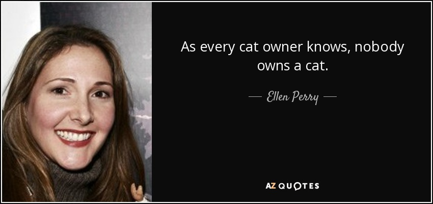 As every cat owner knows, nobody owns a cat. - Ellen Perry