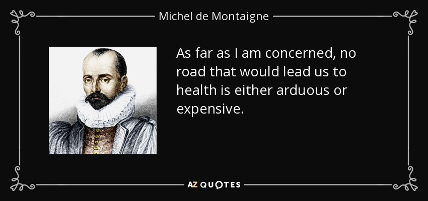 As far as I am concerned, no road that would lead us to health is either arduous or expensive. - Michel de Montaigne