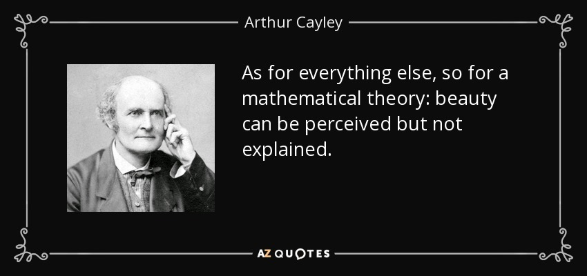 As for everything else, so for a mathematical theory: beauty can be perceived but not explained. - Arthur Cayley