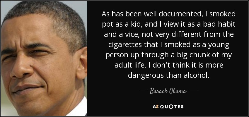 As has been well documented, I smoked pot as a kid, and I view it as a bad habit and a vice, not very different from the cigarettes that I smoked as a young person up through a big chunk of my adult life. I don't think it is more dangerous than alcohol. - Barack Obama