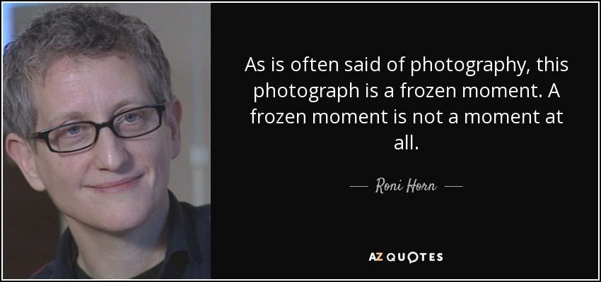 As is often said of photography, this photograph is a frozen moment. A frozen moment is not a moment at all. - Roni Horn