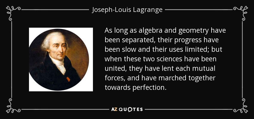 As long as algebra and geometry have been separated, their progress have been slow and their uses limited; but when these two sciences have been united, they have lent each mutual forces, and have marched together towards perfection. - Joseph-Louis Lagrange