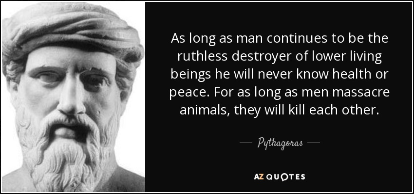 As long as man continues to be the ruthless destroyer of lower living beings he will never know health or peace. For as long as men massacre animals, they will kill each other. - Pythagoras