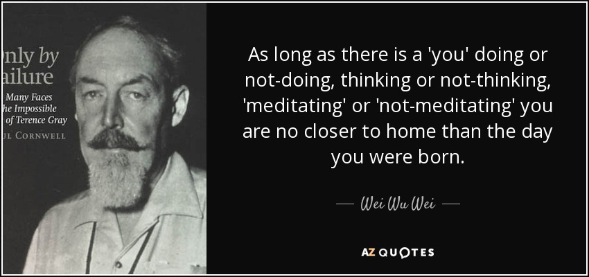 As long as there is a 'you' doing or not-doing, thinking or not-thinking, 'meditating' or 'not-meditating' you are no closer to home than the day you were born. - Wei Wu Wei