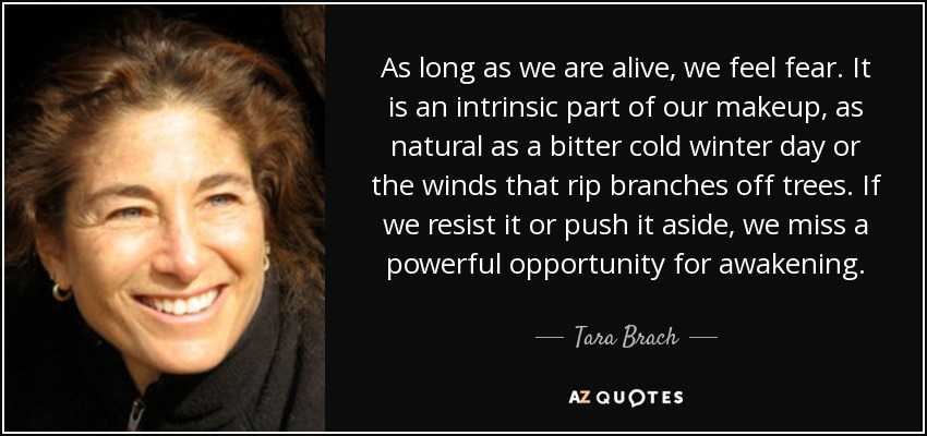 As long as we are alive, we feel fear. It is an intrinsic part of our makeup, as natural as a bitter cold winter day or the winds that rip branches off trees. If we resist it or push it aside, we miss a powerful opportunity for awakening. - Tara Brach