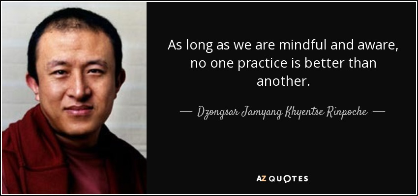 As long as we are mindful and aware, no one practice is better than another. - Dzongsar Jamyang Khyentse Rinpoche