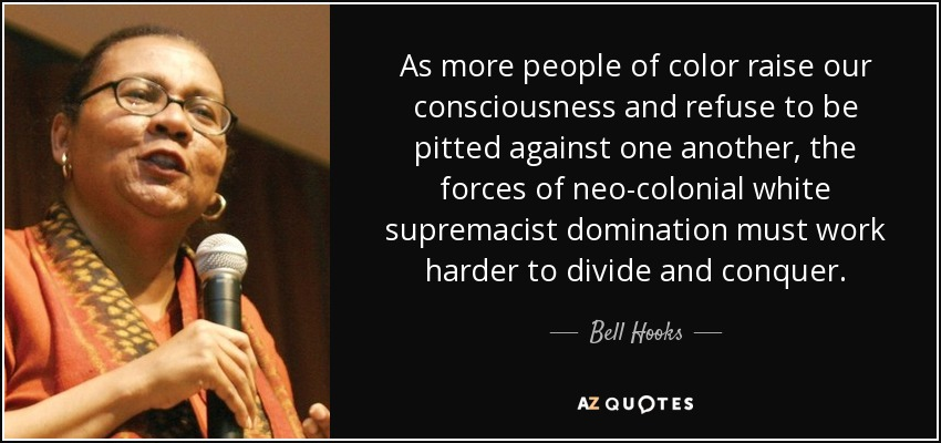 As more people of color raise our consciousness and refuse to be pitted against one another, the forces of neo-colonial white supremacist domination must work harder to divide and conquer. - Bell Hooks