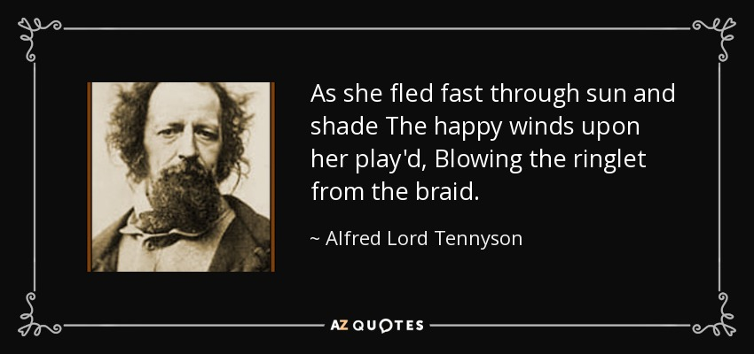 As she fled fast through sun and shade The happy winds upon her play'd, Blowing the ringlet from the braid. - Alfred Lord Tennyson