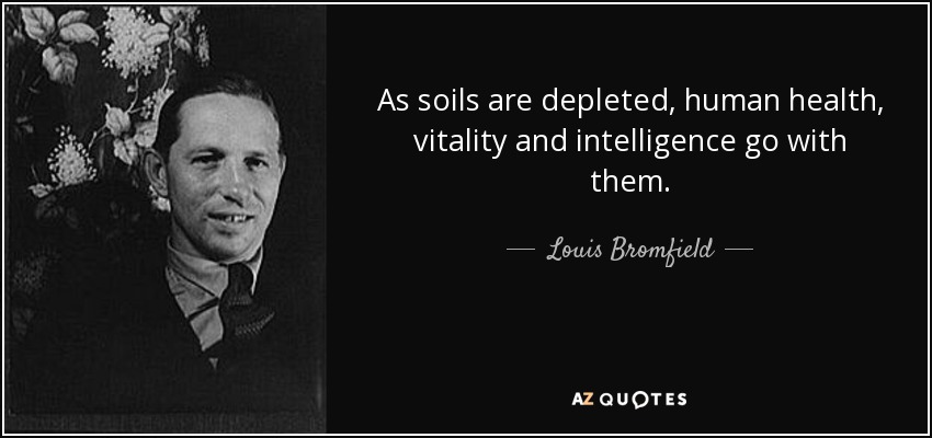 As soils are depleted, human health, vitality and intelligence go with them. - Louis Bromfield