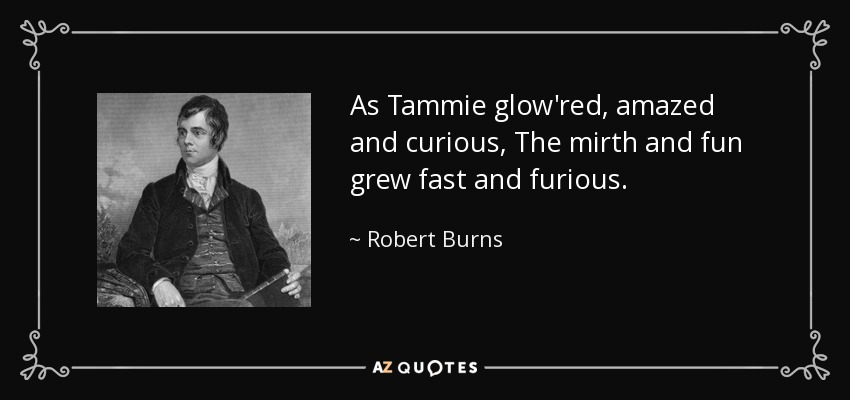 As Tammie glow'red, amazed and curious, The mirth and fun grew fast and furious. - Robert Burns