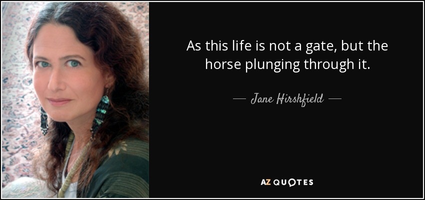 As this life is not a gate, but the horse plunging through it. - Jane Hirshfield
