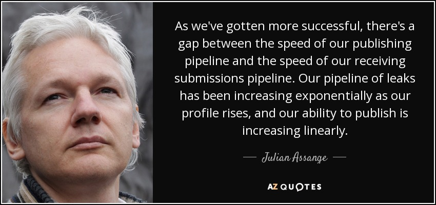 As we've gotten more successful, there's a gap between the speed of our publishing pipeline and the speed of our receiving submissions pipeline. Our pipeline of leaks has been increasing exponentially as our profile rises, and our ability to publish is increasing linearly. - Julian Assange