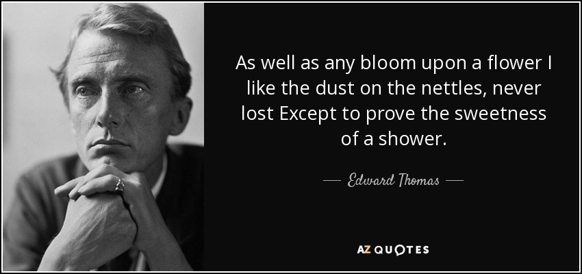 As well as any bloom upon a flower I like the dust on the nettles, never lost Except to prove the sweetness of a shower. - Edward Thomas