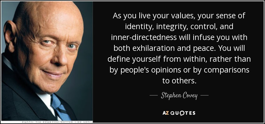 As you live your values, your sense of identity, integrity, control, and inner-directedness will infuse you with both exhilaration and peace. You will define yourself from within, rather than by people's opinions or by comparisons to others. - Stephen Covey