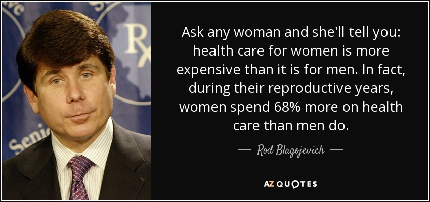 Ask any woman and she'll tell you: health care for women is more expensive than it is for men. In fact, during their reproductive years, women spend 68% more on health care than men do. - Rod Blagojevich