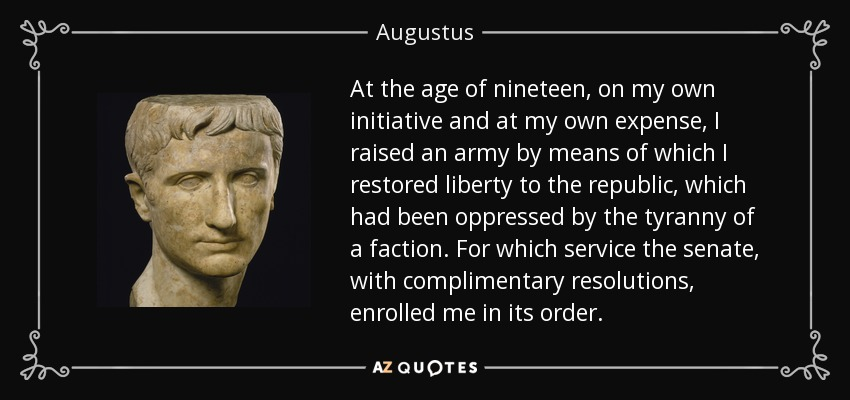 did augustus restore the republic essay I am writing an essay on whether or not augustus sincerely intended to restore the republic why did augustus accept proconsular imperium (and later.
