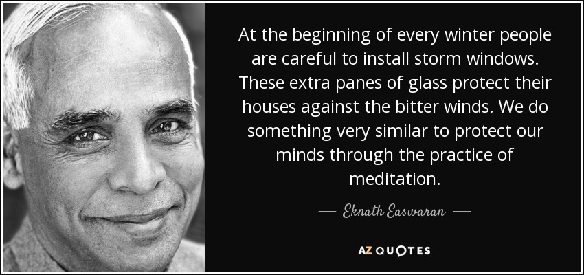 At the beginning of every winter people are careful to install storm windows. These extra panes of glass protect their houses against the bitter winds. We do something very similar to protect our minds through the practice of meditation. - Eknath Easwaran