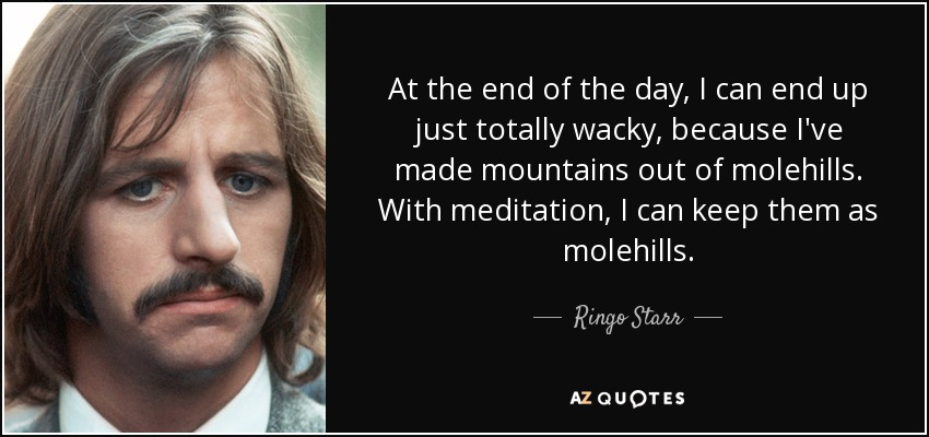 At the end of the day, I can end up just totally wacky, because I've made mountains out of molehills. With meditation, I can keep them as molehills. - Ringo Starr