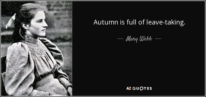Autumn is full of leave-taking. - Mary Webb