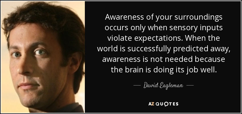 David Eagleman Quote Awareness Of Your Surroundings Occurs Only