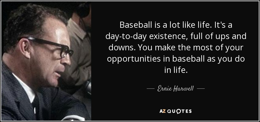 Baseball is a lot like life. It's a day-to-day existence, full of ups and downs. You make the most of your opportunities in baseball as you do in life. - Ernie Harwell