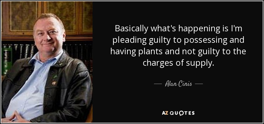 Basically what's happening is I'm pleading guilty to possessing and having plants and not guilty to the charges of supply. - Alan Cinis