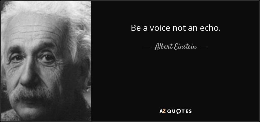 Be a voice not an echo. - Albert Einstein