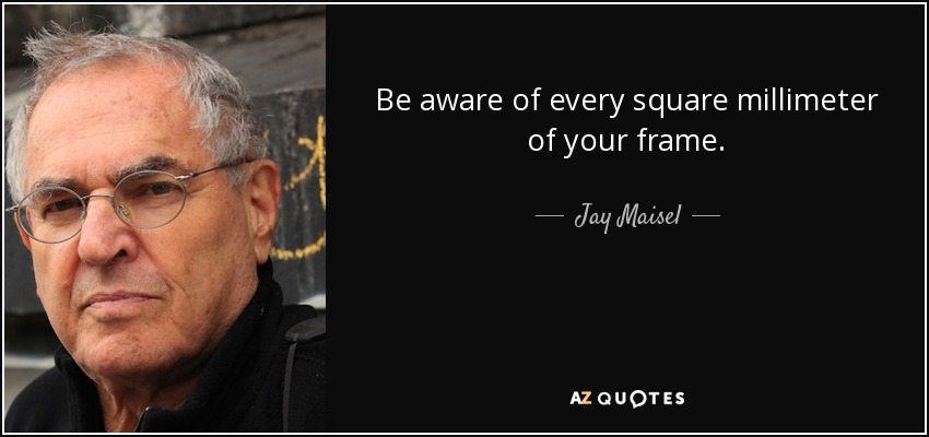 Be aware of every square millimeter of your frame. - Jay Maisel