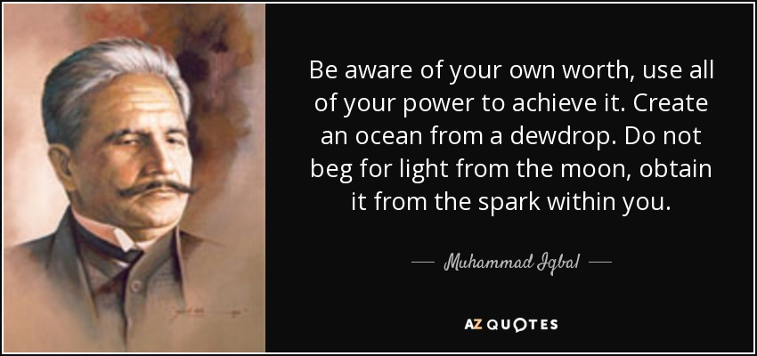 Be aware of your own worth, use all of your power to achieve it. Create an ocean from a dewdrop. Do not beg for light from the moon, obtain it from the spark within you. - Muhammad Iqbal