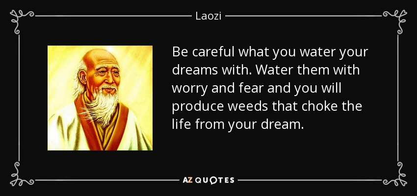 Be careful what you water your dreams with. Water them with worry and fear and you will produce weeds that choke the life from your dream. - Laozi