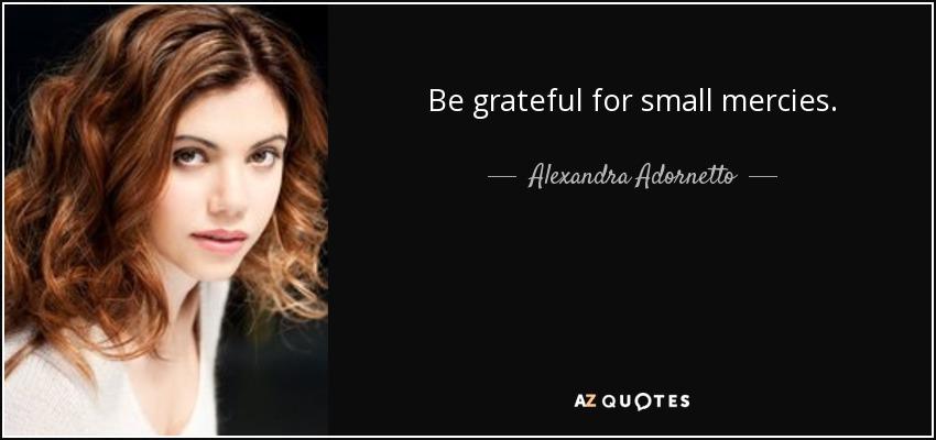 Be grateful for small mercies. - Alexandra Adornetto
