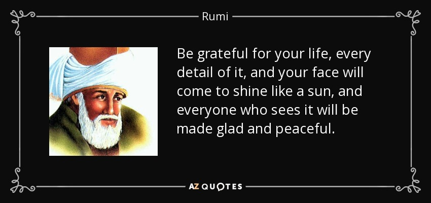 Be grateful for your life, every detail of it, and your face will come to shine like a sun, and everyone who sees it will be made glad and peaceful. - Rumi