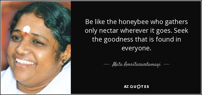Be like the honeybee who gathers only nectar wherever it goes. Seek the goodness that is found in everyone. - Mata Amritanandamayi