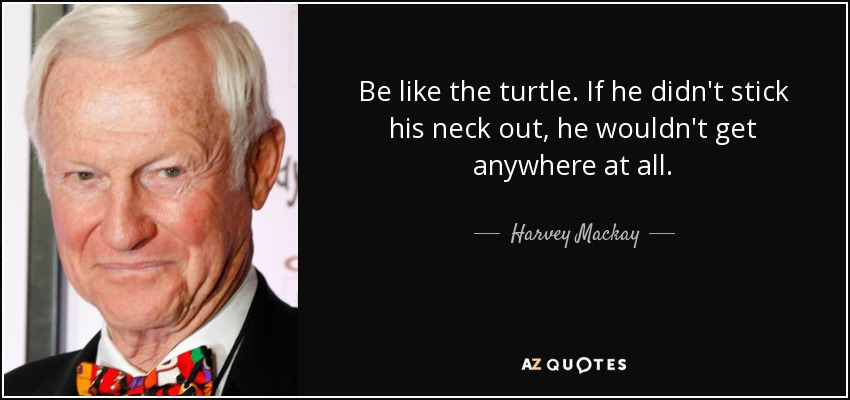 Be like the turtle. If he didn't stick his neck out, he wouldn't get anywhere at all. - Harvey Mackay