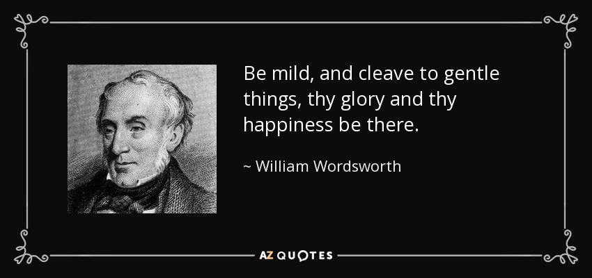 Be mild, and cleave to gentle things, thy glory and thy happiness be there. - William Wordsworth