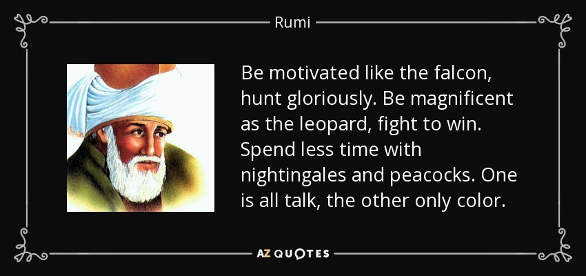 Be motivated like the falcon, hunt gloriously. Be magnificent as the leopard, fight to win. Spend less time with nightingales and peacocks. One is all talk, the other only color. - Rumi