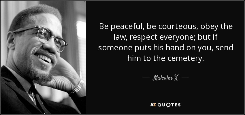 Be peaceful, be courteous, obey the law, respect everyone; but if someone puts his hand on you, send him to the cemetery. - Malcolm X
