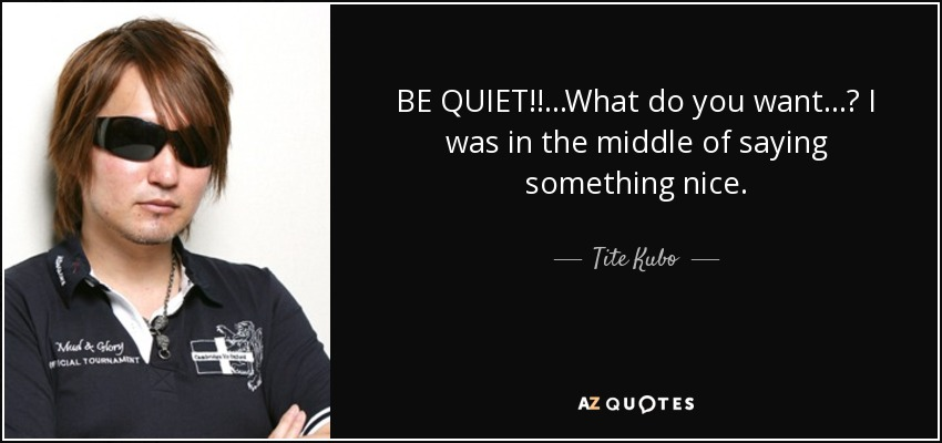 BE QUIET!!...What do you want...? I was in the middle of saying something nice. - Tite Kubo